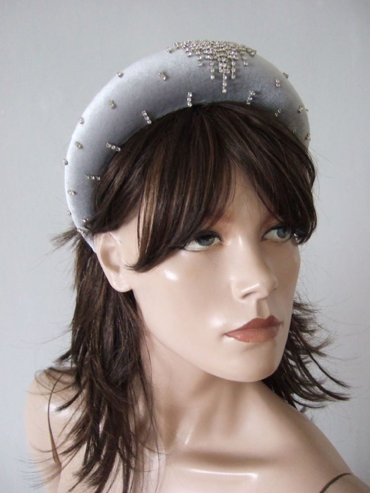 Silver Velvet Thick Padded Wide Embellished Headband Draped in Crystals